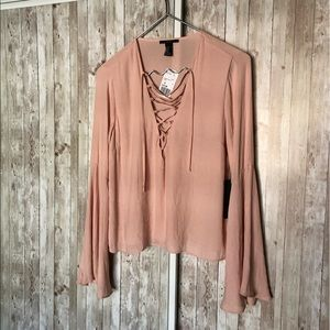 Forever 21 Peach Lace Up Bell Sleeve Top